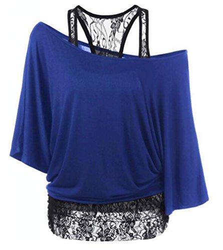 Ghope Damen Spitze Transluzent Top Schulterfrei Fledermaus Kurzarm Zweiteilig T-shirt Oberteile Sommertop Blau 1