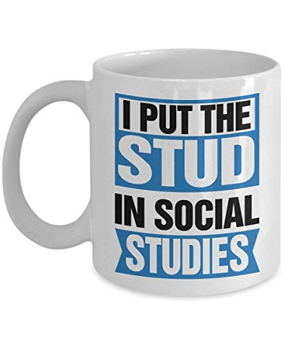I Put The Stud in Social Studies - Perfect History Teacher Gifts Ideas for Women, Mom, Wife, Her, Guys, Sister for Mother's Day - Funny Quote Ceramic History Coffee Mug Tea Cup 11 OZ White