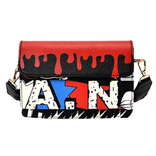 iHENGH Borsetta Donna Lettera Stampa Moda 2019 Borsa a Spalla Donna Estate Fashion Women Graffiti Printed Small Square Bag Shoulder Messenger Bag Nero