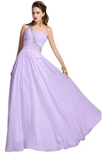 Sunvary Chiffon spalla una sera, abiti da damigella d'onore, increspata, per donna Lilac