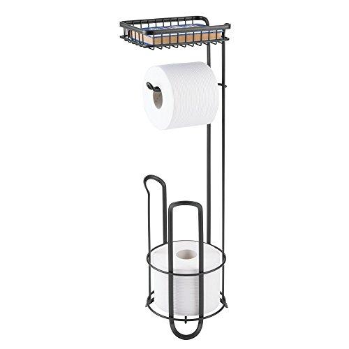 mDesign Toilettenpapierhalter ohne Bohren - Klorollenhalter fürs Badezimmer mit Ablage - zeitloser Papierrollenhalter aus Metall - mattschwarz