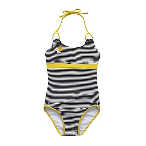 Mädchen Bikini Yesmile Kinder Ein Stück Kurz Ärmellos Patchwork Monokini Kinder Patchwork Sommer Strand Badeanzug Gestreift Neckholder Bademode (128, Gelb) (Kinder Monokini)