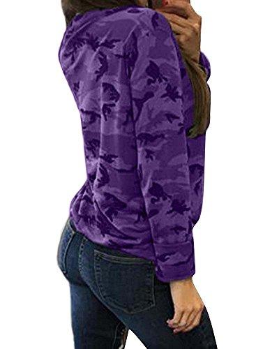 Parti superiori del choker del manicotto del merletto del camuffamento del merletto delle donne, camice allentate casuali del collo a V Viola
