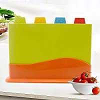 Walmeck Cutting Board 4 Pieces Set with Stand Food Labels Separate Vegetables Meats Fish Poultry Chopping Board Kit Kitchen Tools