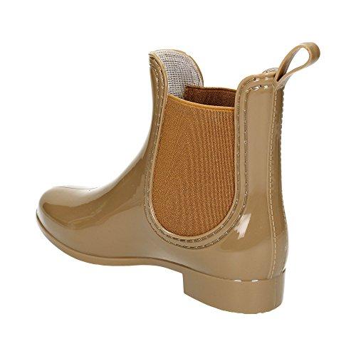 Damen Chelsea Schlupf Stretch-Einsatz Regen Boots Gummi Glitzer Stiefeletten Lack Stiefel Freizeit Schuhe Khaki