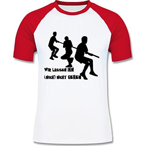 JGA Junggesellenabschied - Wir lassen ihn noch nicht gehen - zweifarbiges Baseballshirt für Männer Weiß/Rot
