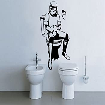 Banksy storm trooper on loo wall sticker ban28