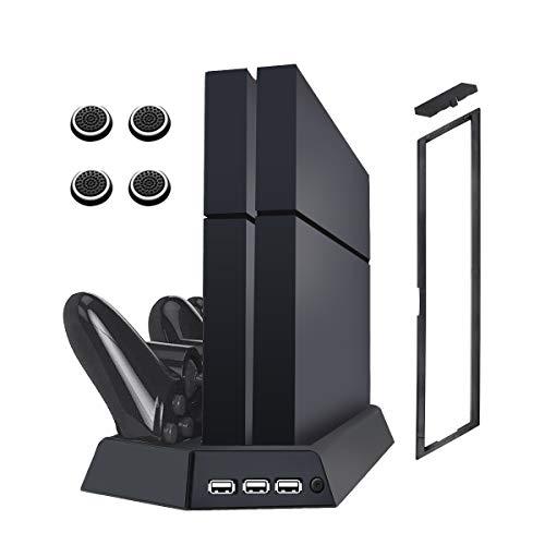 VICKMALL Ps4 Vertikaler Kühlerlüfter mit Dual Shock 4 Ladestation für Playstation Ps4/ Ps4 Slim /Ps4 Pro Controller 3 USB-Hub-Anschluss 14 Spiele-Disc-Halter und 4 Zeiger -