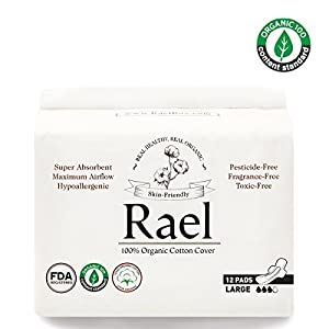 Rael Certified Organic Cotton Menstrual Large Pads - Ultra Thin Natural Sanitary Napkins With Wings