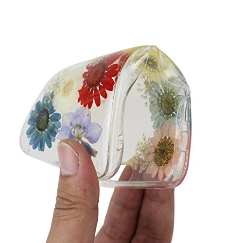 iPhone 6S Silikon Hülle, iPhone 6 Silikon Hülle Transparent, Transparent Echt Blumen Design, Moon mood® Ultra Slim Thin Hülle Handytasche Schutzhülle für Apple iPhone 6S / iPhone 6 4.7 Zoll Weich Sili Echt Blumen 7