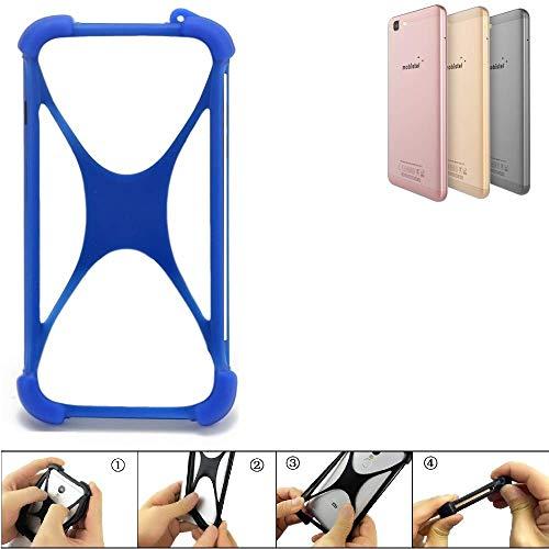 K-S-Trade Bumper für Mobistel Cynus F10 Silikon Schutz Hülle Handyhülle Silikoncase Softcase Cover Case Stoßschutz, blau (1x)