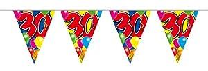 Folat Guirnalda de banderines, 15 banderines, Estampado de Globos, 30 cumpleaños, 10 m