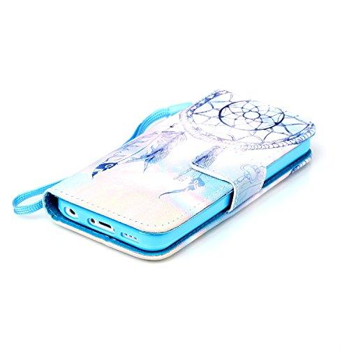 QSY® Apple iPhone 5C PU Cuir Portefeuille Longe Coque silicone Etui Strass etui Case Cas Cuir Housse Leather Swag Flip Case Cover Coquille ouverture avec Fonction Stand et les fentes de carte de crédi 3