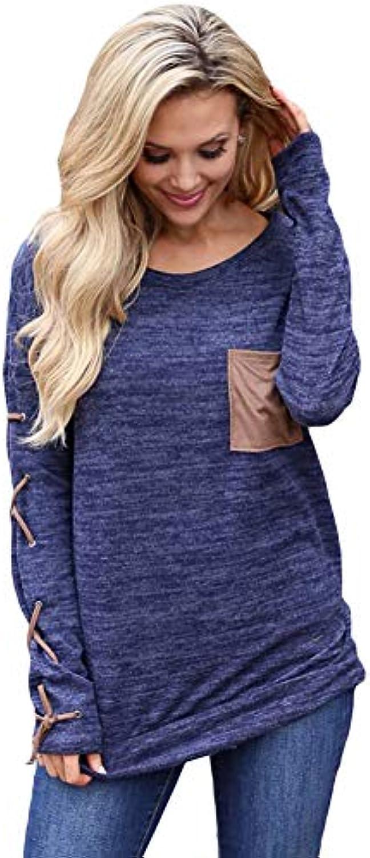 ... CXQ-T shirt T-Shirt Slim Donna Girocollo a Manica Lunga da Donna Slim 0711ca3010d