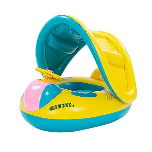 VLUNT Aufblasbar Schnellboot Babysitz Schwimmreifen mit Sonnendach Fuer Baby 4-24 Monate UV-Schutz Sonnenschirm