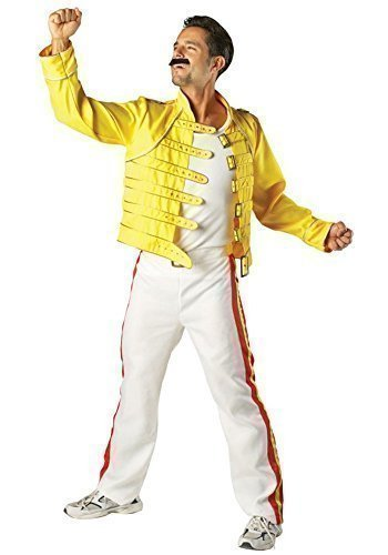 Herren 1980s 80s Deluxe Freddie Mercury Queen Promi Jahrzehnte 1986 Wembley Arena Musiker Rock Band Rock Star Kostüm Kleid Outfit - Gelb, (Wembley Freddie Kostüm)