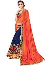 Craftsvilla Womens Embellished Georgette Orange & Navy Designer Saree With Blouse Piece