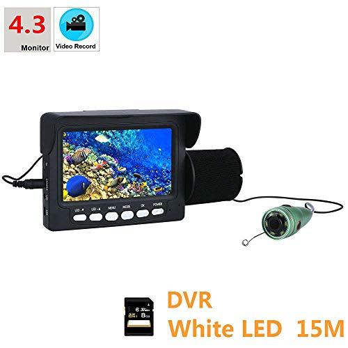 """GEOPONICS Aluminiumlegierung Unterwasser FishingCamera Kit 6 PCS 1W Lichter mit 4,3"""" Zoll-HD-DVR Farb-Monitor Farbe 15M Kabel"""