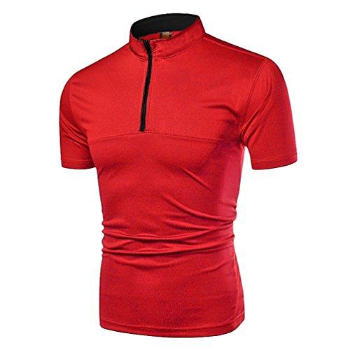 Zkooo poloshirt uomo contrast collar manica corta polo t-shirt maglietta con cerniera sportiva casuale rosso