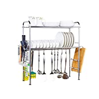 Rubik Stainless Steel Adjustable Dish Drainer Rack Utensil Holder, Kitchen Storage Shelf, 2-Tier Over The Sink Dish Cutlery Drying and Drain Rack Stand Organizer (Double Groove)