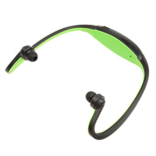 MagiDeal Sport USB Mp3 Wma Musik Player für TF/SD Karte Schluss Drahtloser Headset Kopfhörer für Läufer Jogger Radfahrer Sport Outdoor - Grün - Läufer Headset
