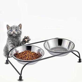 OMGO Gamelle Chien et Chat en INOX Double Gamelle Amovible avec Support en Fer Solide Antidérapant Pratique pour Pet Feeder M