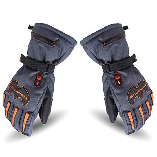 LBAFS Elektrische Erhitzte Handschuhe, Wieder Aufladbare Warme Wasserdichte Windundurchlässige Handschuhe Thermisch Für Winter-Ski-Radfahren Im Freien,Blue-XL (Thermische Handschuhe Winter)