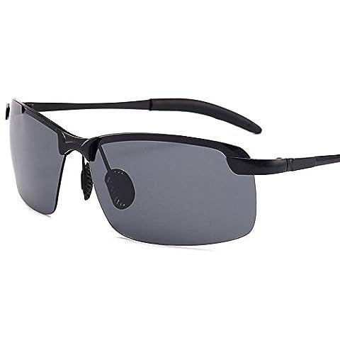 Kennifer Mode Hommes Lunettes de soleil polarisées Driving Sports Pêche Randonnée Cyclisme Miroir Lense Homme Lunettes en métal, UV400 (Noir, Gris)