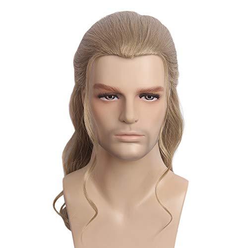 STfantasy pelucas hombre pelo natural castaño largo