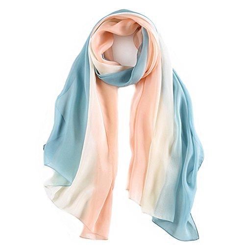 pañuelo de seda Mujer 100% seda Mantón Bufanda Moda Chals Señoras Elegante Estolas Fular 70,8 «x 27,5» polvo blanco azul