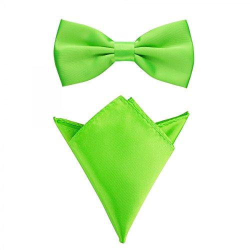 Rusty Bob - Fliege mit Einstecktuch in verschiedenen Farben (bis 48 cm Halsumfang) - zur Konfirmation, zum Anzug, zum Smoking - im 2er-Set - Neongrün