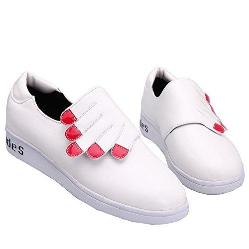 VogueZone009 Femme Pu Cuir Couleurs Mélangées Velcro Rond à Talon Correct Chaussures Légeres Blanc