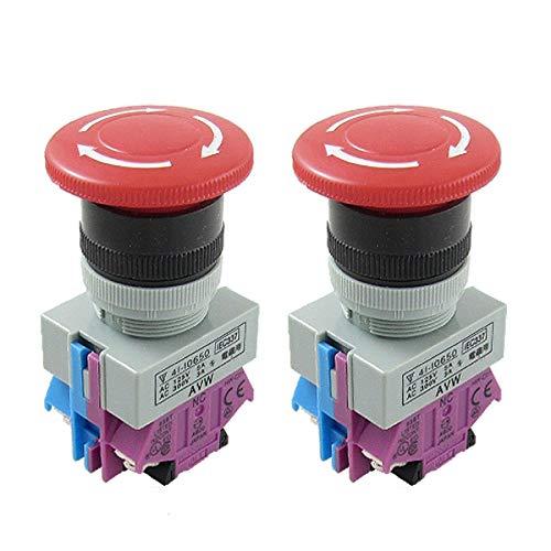 Switch Push-button-cap (UOTYLE Not Stop Push Button,Red Mushroom Cap Latching Switch,22mm NO NC Not Aus Schalter 2 AC 125V 5A AC 300V 3A 2 Stück)