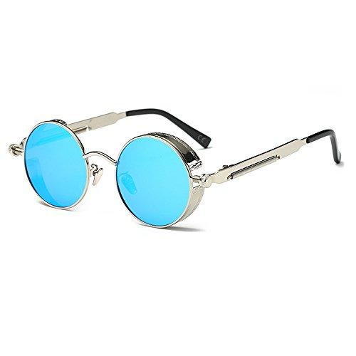 AMZTM Kleine Rund Verspiegelt Linsen Polarisiert Punk Sonnenbrille für Damen und Herren (Silber Rahmen und Eisblau Linse, 48)