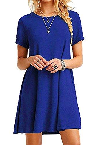 ZIOOER Damen Sommerkleider Kleider Casual MiniKleid Langes Shirt Lose Freizeitkleider Tunika Kurzarm Tshirt Kleid Abendkleid Blau S (Frauen Casual-kleider Blaue Für)