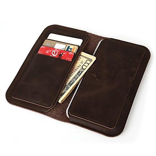 Étui portefeuille en cuir véritable pour Alcatel POP D5/Fire E pour Marron - marron Marron - marron