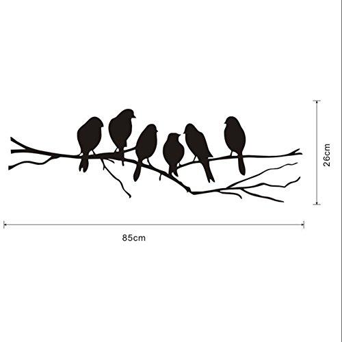 CAOLATOR Creative Oiseau PVC,Sticker Mural Déco Oiseau (Noir)