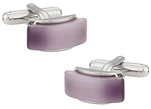 Elegant Purple Cufflinks in Beveled Silver Frame with Presentation Box