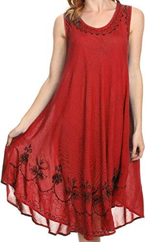 Sakkas 1051 Tägliche Essentials Kaftan-Kleid / Vertuschung - Rot / Schwarz - OS