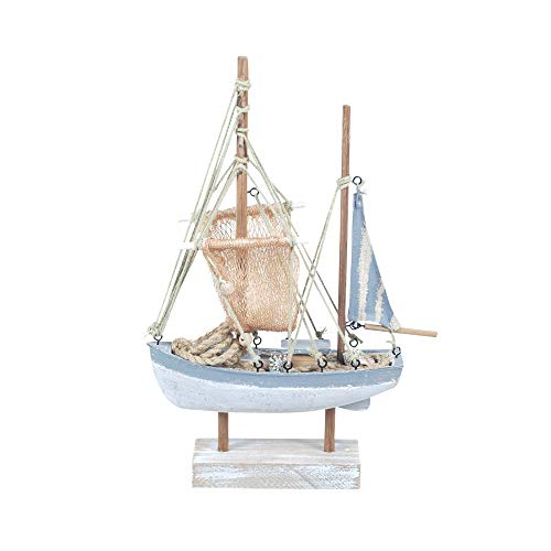 Vidal Gifts Decorative Figure Boat Wooden Blue 31 cm