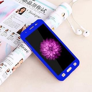 Singh Sales 360 Degree Full Body Protection Front & Back Case Cover (iPaky Style) with Tempered Glass for Vivo Y21 - (Blue)