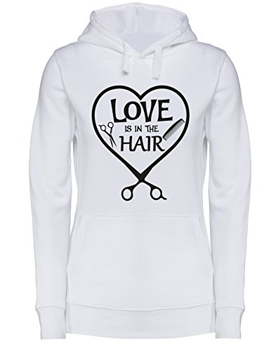 Love is in the Hair - Damen Hoodie Weiss/Schwarz