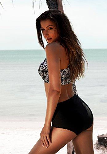 Angerella Damen Vintage Classical Push Up Badeanzüges Bikini - 5