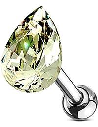 b29637604 Very cute & Elegant peridot green diamond cut crystal teardrop Cartilage,  tragus, helix,