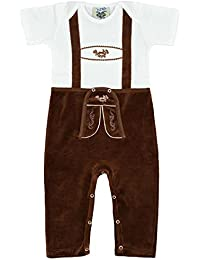 Baby–joven Isar de Trachten Baby Pelele piel Pantalones, color marrón Marrón Largo, color blanco