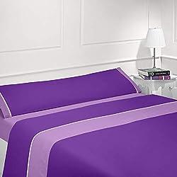 Coflor Juego de sábanas lisas - Bicolor - Tres piezas - Tacto seda - Microfibra transpirable (Lila/Morado, 150_x_190/200 cm)