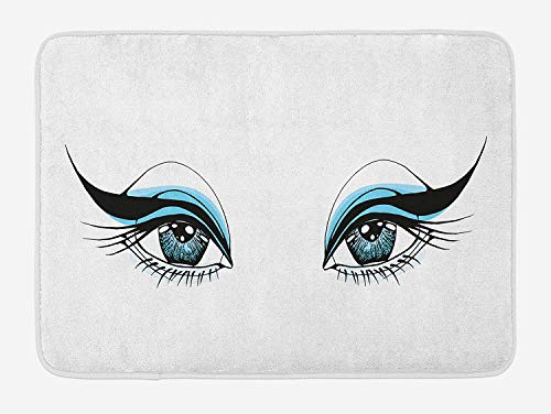 Expressive Look of a Woman Without Eyebrows Artistic Blue and Black Make Up, Plush Bathroom Decor Mat with Non Slip Backing, 15.7X23.6 inch, Pale Blue Black White ()