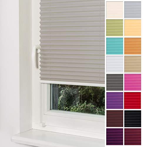 Home-Vision Plissee Faltrollo ohne Bohren mit Klemmträger / -fix (Grau, B90cm x H100cm) Blickdicht Sonnenschutz Jalousie für Fenster & Tür -
