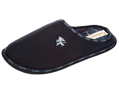 Männer Kühler Veloursleder-optik Skipiste Slipper warmes Innenfutter Größe prüfen 7. bis 12. Schwarz