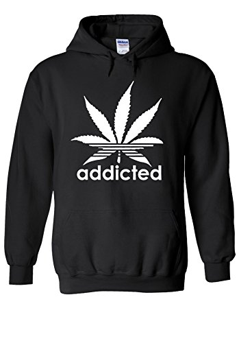 Addicted Cannabis Weed Logo Novelty Black Men Women Unisex Hooded Sweatshirt Hoodie-XL